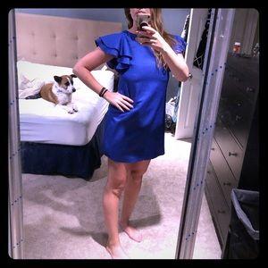 Blue ruffle sleeve cocktail dress. Size 2.